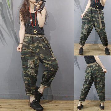 Camouflage Hole Elastic Waist Women Pants With Belt