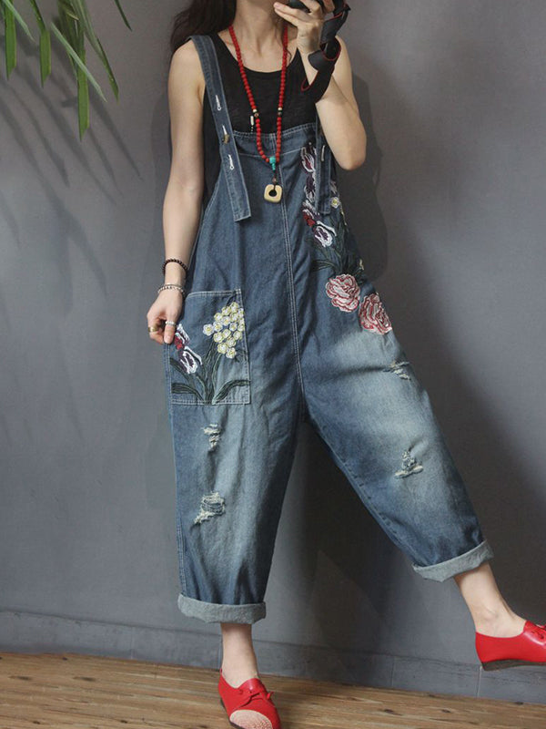 Women Summer Loose Denim Overalls