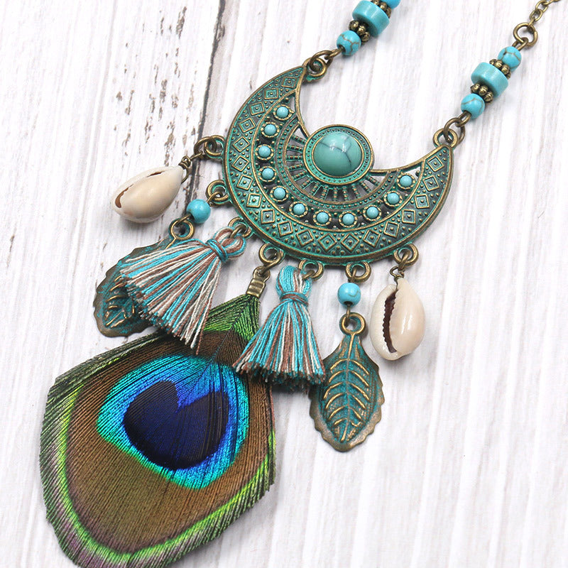 Women Feather Tassel Necklace
