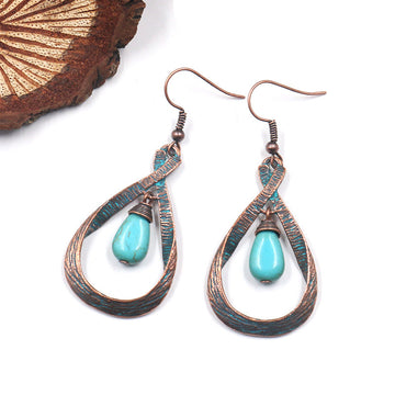 Retro Water Drop Agate Women Earrings