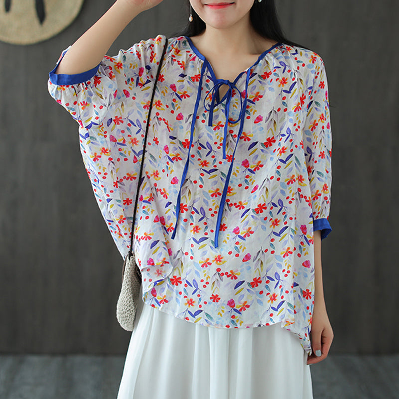 Floral Lacing Half Sleeve Loose Women T-shirt