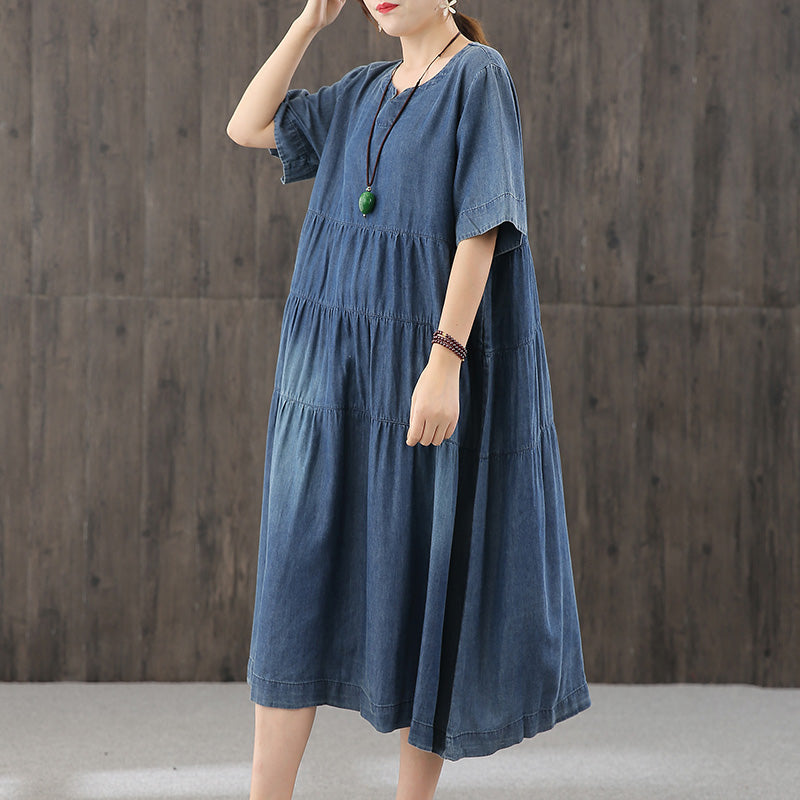 Women Pleated Loose Denim Dress
