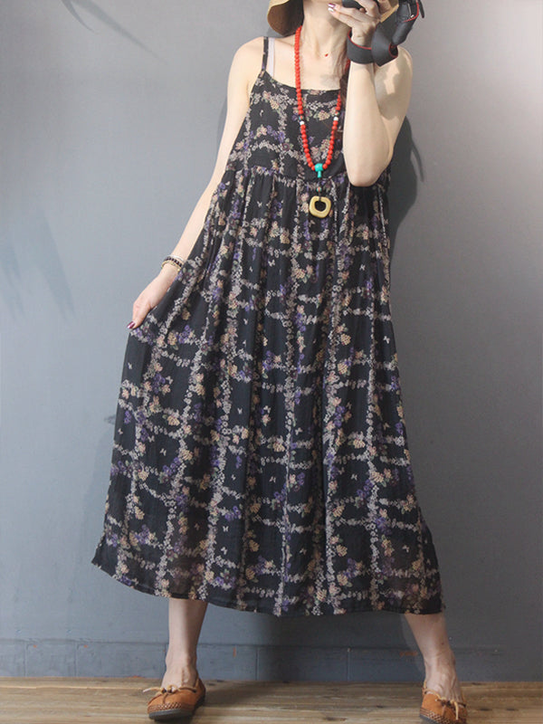 Women Floral Prints Sleeveless Pleated Dress