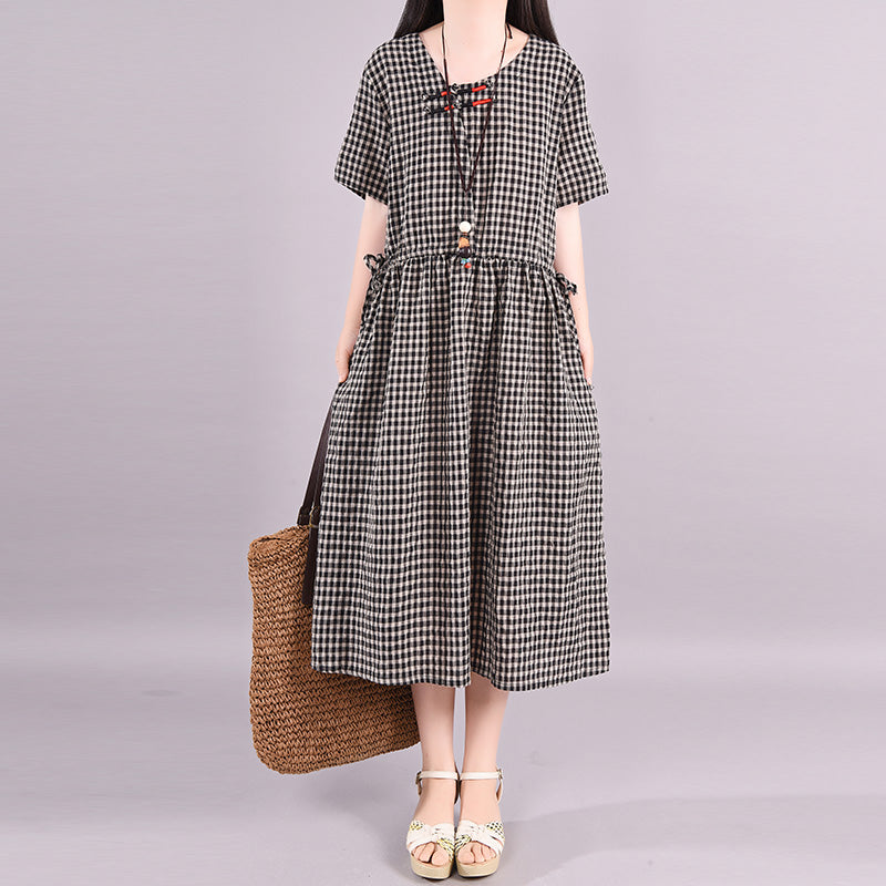 Women Plaid Short Sleeve Summer Loose Dress