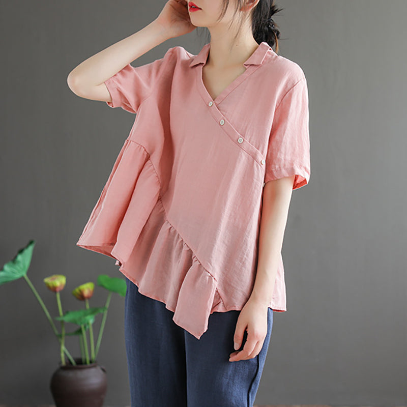 Summer Loose Linen V Neck Women T-shirt