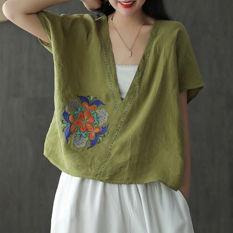 Summer V Neck Embroidered Women Loose T-shirt