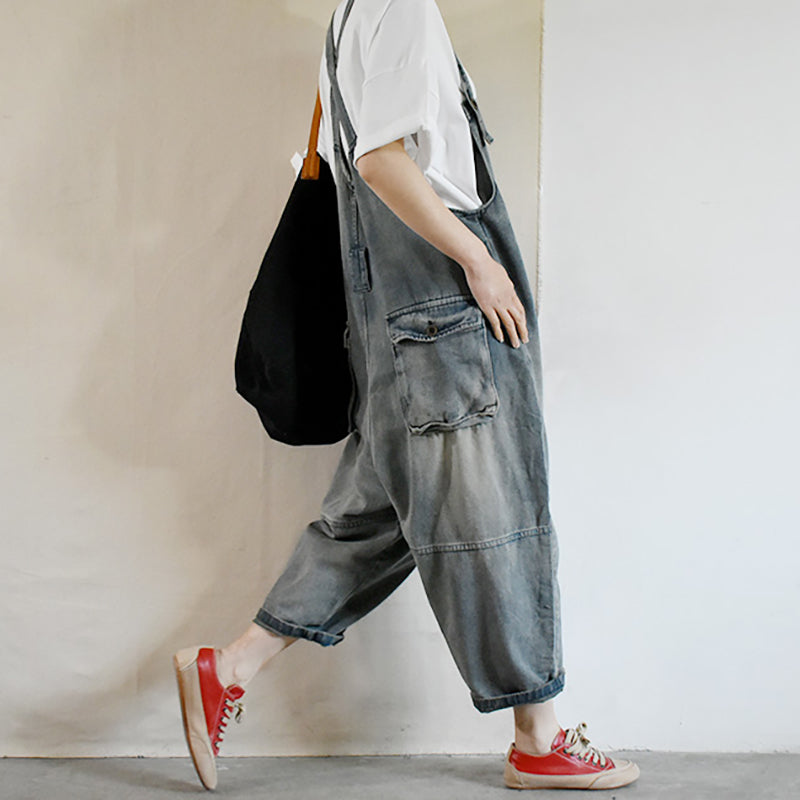 Women Summer Denim Loose Dungarees