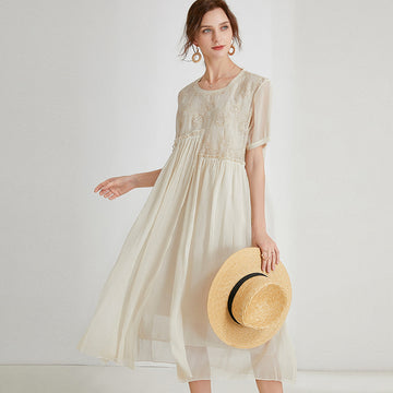 Chiffon Embroidered Summer Loose Casual Dress