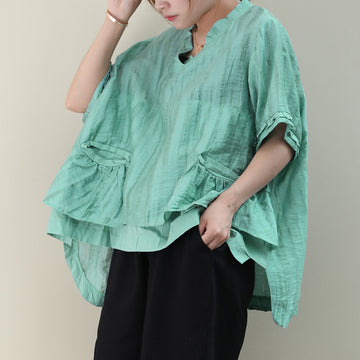 Irregular Summer Women V Neck Loose Cotton T-shirt