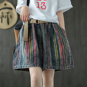 Women Elastic Waist Stripe  Denim Summer Shorts With Belt