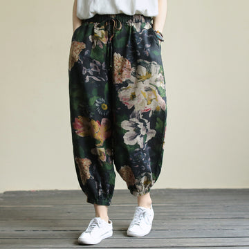 Flower Prints Elastic Waist Women Autumn Pants