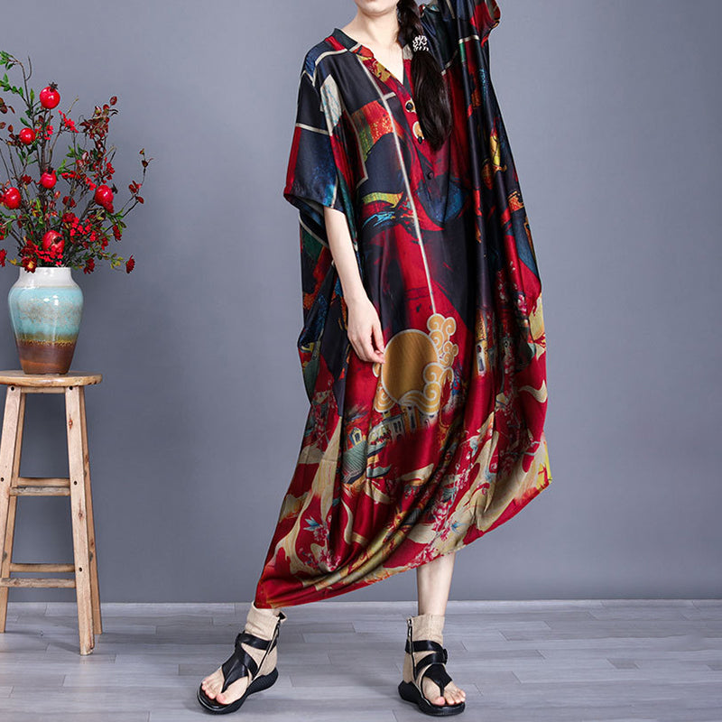 Prints V Neck Short Sleeve Retro Elegant Summer Maxi Dress