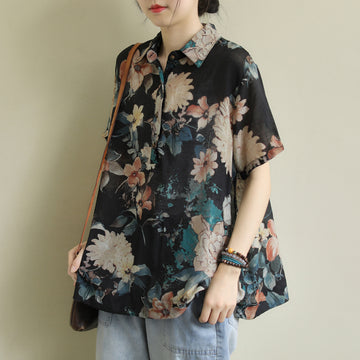 Flower Prints Polo Neck Short Sleeve Women Summer Loose Shirt
