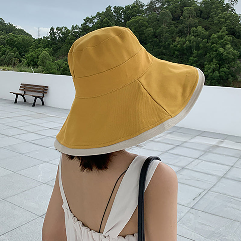 Women Sun Protect Cotton Reversible Vacation Summer Hat