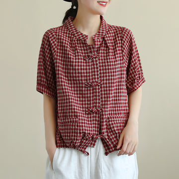 Plaid Women Single Breasted Retro Short Sleeve Shirt