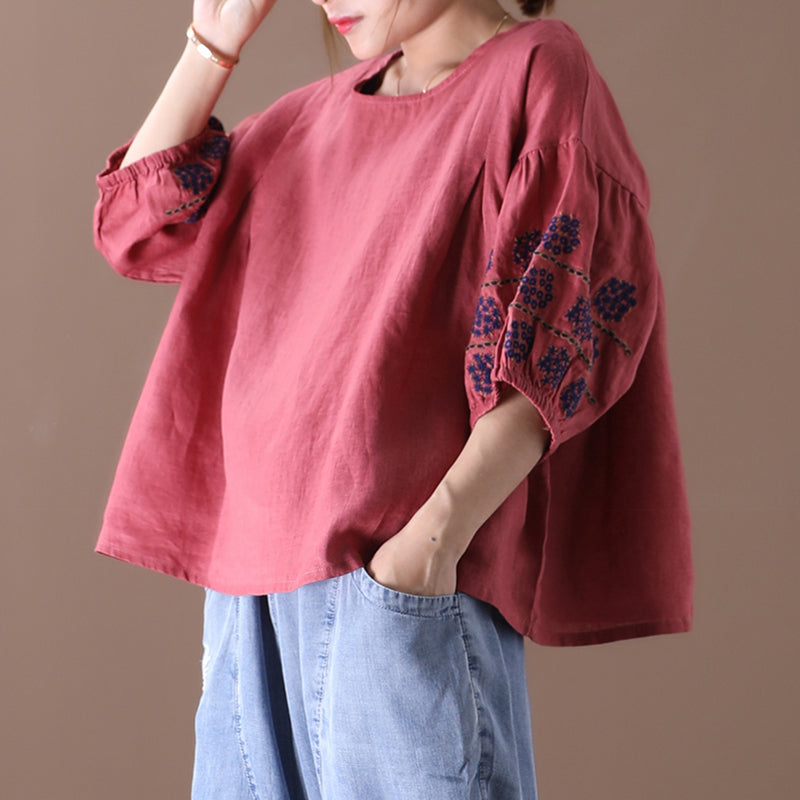 Embroidered Half Sleeve Women Linen Loose T-shirt