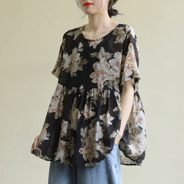 Flower Prints Short Sleeve Women Summer Loose T-shirt