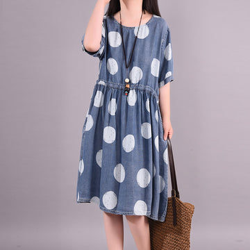 Summer Dots Prints Elastic Waist Women Loose Dress