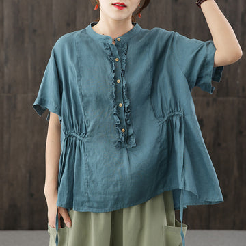 Women O Neck Short Sleeve Pleated Summer Loose T-shirt