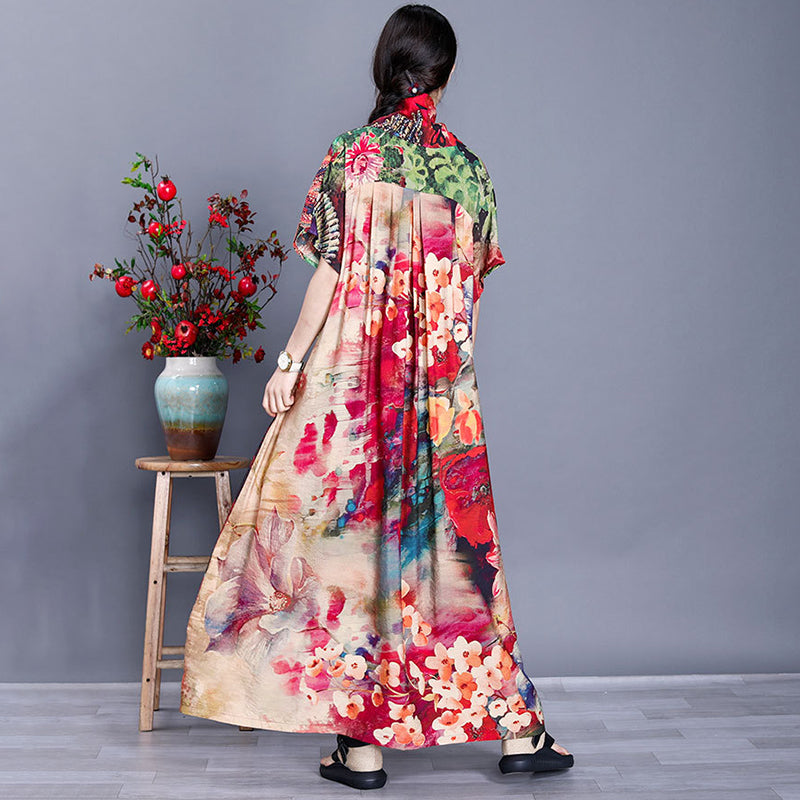 Floral Prints Short Sleeve V Neck Summer Loose Maxi Dress