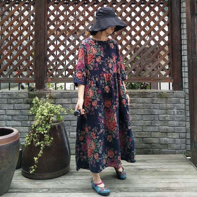 Plus Size - Floral Prints Pleated Summer Cotton Dress