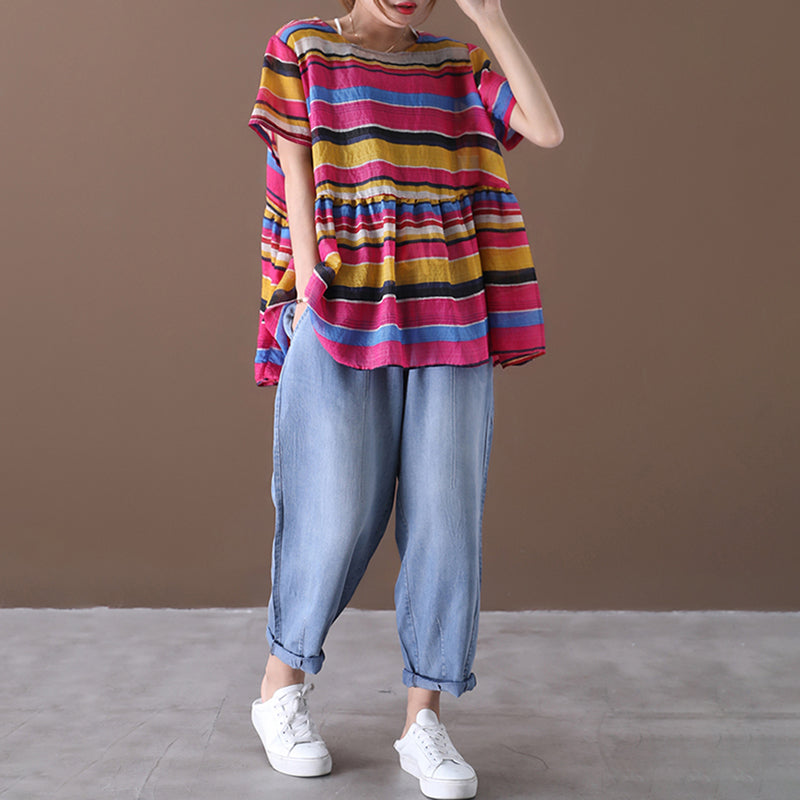 Colored Stripe Women Summer Loose T-shirt
