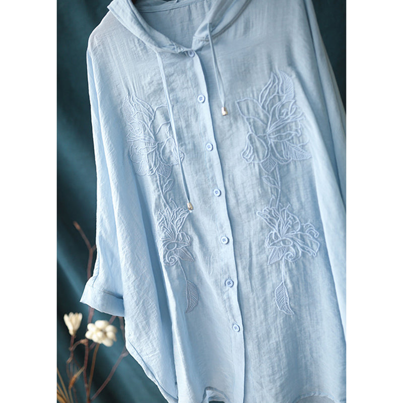 Transparent Thin Women Sun Protection Embroidered Hoodie Shirt