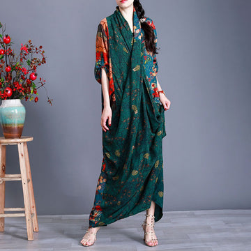 V Neck Loose Floral Prints Autumn Dress