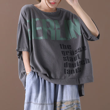Letter Prints Summer Women Split Loose T-shirt