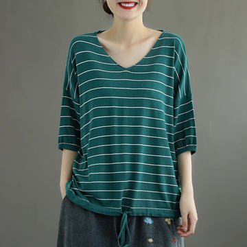 Stripe V Neck Women Loose Summer T-shirt