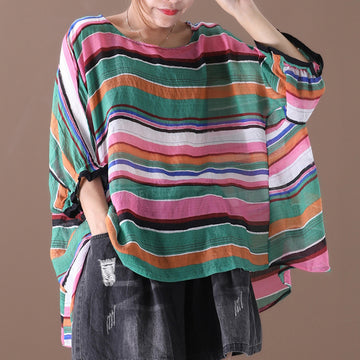 Women Stripe Batwing Sleeve Summer Loose T-shirt