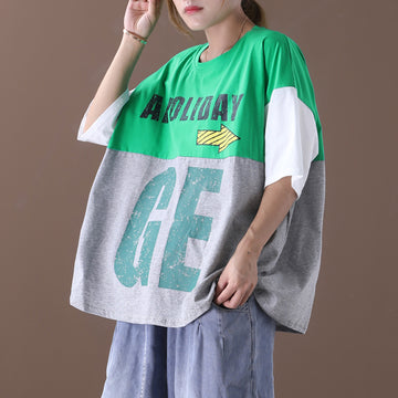 Letter Prints Patchwork Cotton Women Loose T-shirt