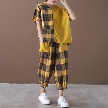 Plaid Patchwork Women Two Piece Set Hoodie T-shrit And Pants