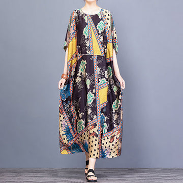 Summer Loose Prints Retro O Neck Dress