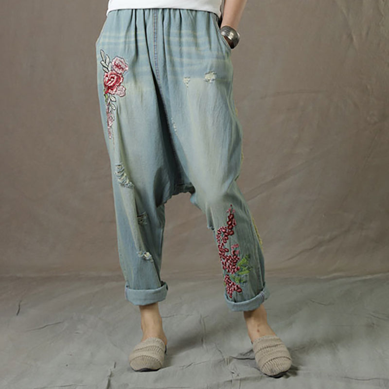 Embroidered Women Denim Summer Loose Elastic Waist Jeans