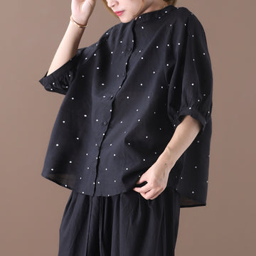 Dots Prints Single Breasted Stand Collar Women Loose Shirt