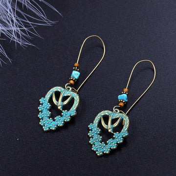 Heart Shape Women Ethnic Alloy Retro Gifts Earrings