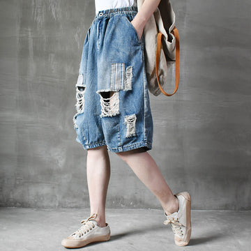 Holes Women Elastic Waist Loose Summer Jeans