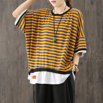 Women Fake Two Pieces Stripe Loose T-shirt