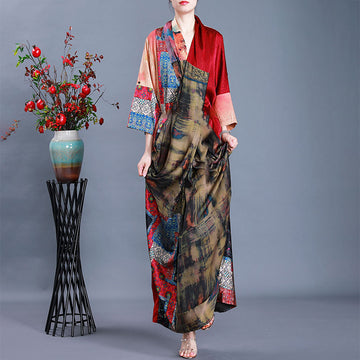 Irregular Autumn Loose Silk Prints Elegant Dress