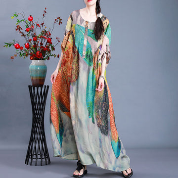 Irregular Pleated Loose Autumn Maxi Dress