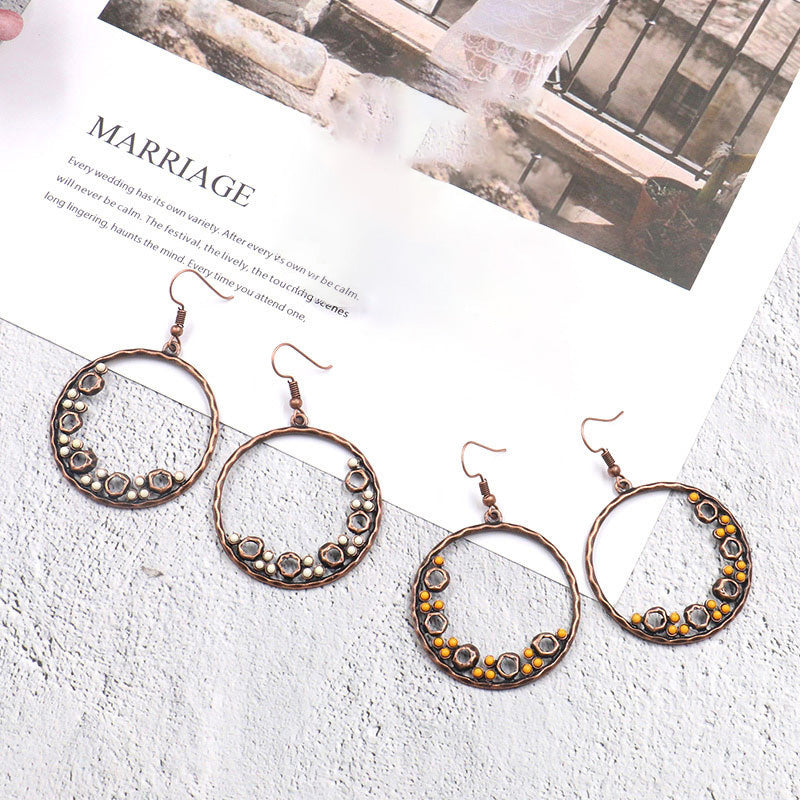 Bead Decoration Ring Shaped Earrings