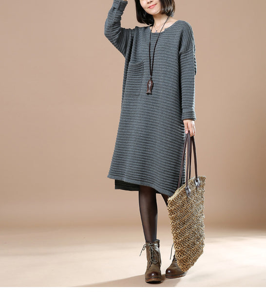 Gray Round Neck Long Sleeve Knitted Sweater