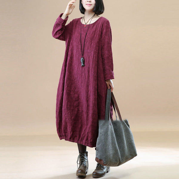 Elegant Women Linen Cotton Jacquard Pleated Round Neck Wine Red Dress - Buykud