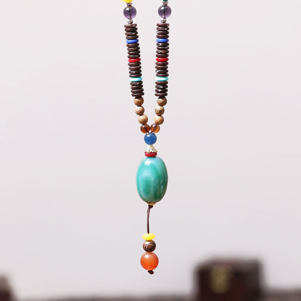 Retro Ethnic Vintage Women Wooden Bead Necklace - Buykud