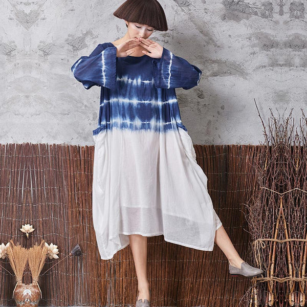 Women Retro Linen Round Neck Blue Dress