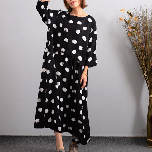Women's Autumn Black Casual Embroidered Linen Dress