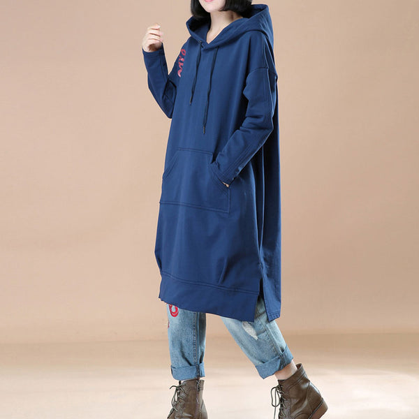 Women String Hoodies Blue Long Sleeve Pockets Printing Coat - Buykud