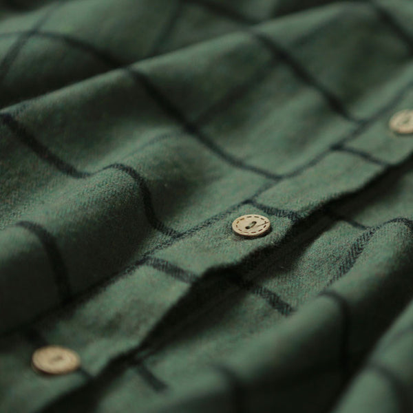 Loose Stitching Plaid Green Dress - Buykud