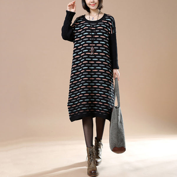 Autumn Loose Round Neck Long Sleeve Striped Retro Long Sweater Black